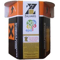 Galvaniniu elementu kartoninis konteineris, talpa 3 l.